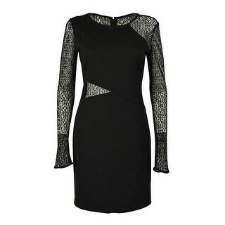 Guess Women's Long Sleeves Illusion Dress - Black