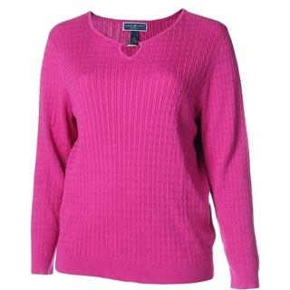 Karen Scott Womens Plus Cable Knit Keyhole Pullover Sweater