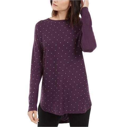 INC Womens Purple Long Sleeve Jewel Neck Hi-Lo Sweater Size S
