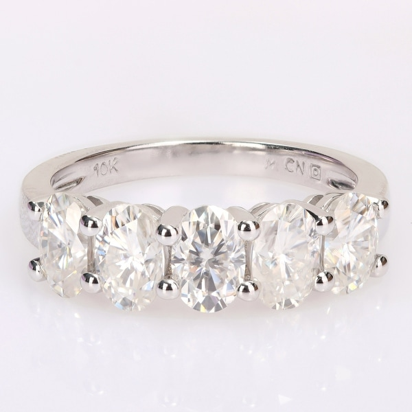 Miadora 2 1/2ct DEW Oval-cut Moissanite 5-Stone Semi-Eternity Band Ring in 10k White Gold. Opens flyout.