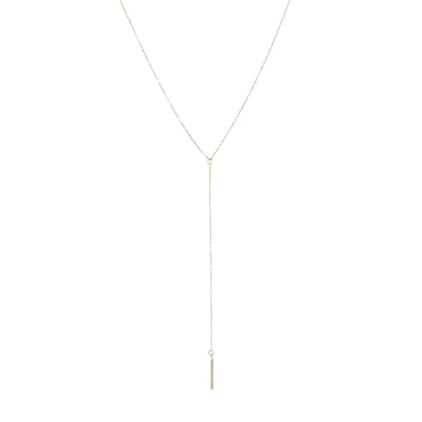 Honeycat Whisper Thin Lariat Bar Necklace