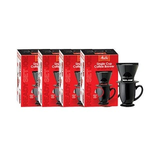 Melitta 64010 Pour Over OneCup Ceramic Black SinglePack (4-Pack) Ceramic Coffeemaker - Black