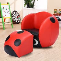 Costway Insect Shape Kids Sofa Chair Couch Children Toddler Birthday Gift w/ Ottoman - Black&Red