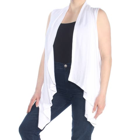RALPH LAUREN Womens White Knit Sleeveless Open Cardigan Sweater Size: XL