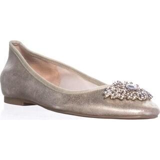 Badgley Mischka Abella II Ballet Flats, Platino - 8 us
