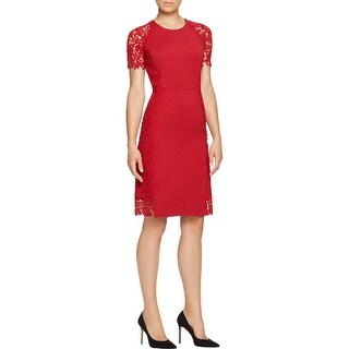 Elie Tahari Womens Hudson Cocktail Dress Lace Applique Short Sleeves