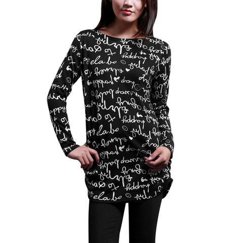 Women Long Sleeve Printed Shirred Sides Knit Tunic Shirt