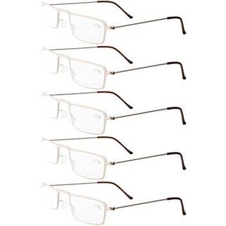Eyekepper 5-Pack Stainless Steel Frame Half-eye Style Reading Glasses Gold +4.0