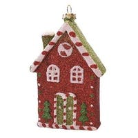 "4.5"" Merry & Bright Red, White and Green Glitter Shatterproof Candy House Christmas Ornament - RED"