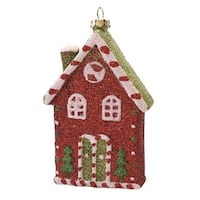 "4.5"" Merry & Bright Red  White and Green Glitter Shatterproof Candy House Christmas Ornament"