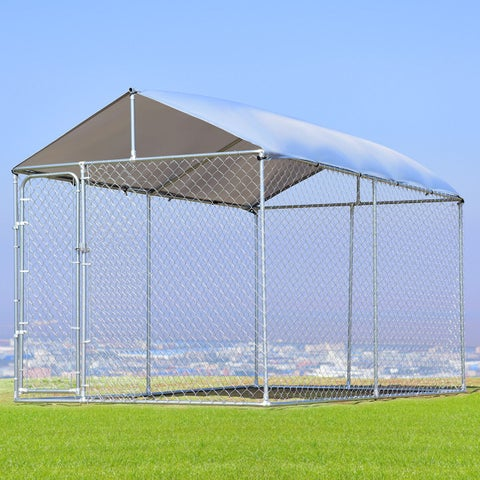 Gymax Large Pet Dog Run House Kennel Shade Cage 7.5'x13' Roof Cover Backyard Playpen - as pic