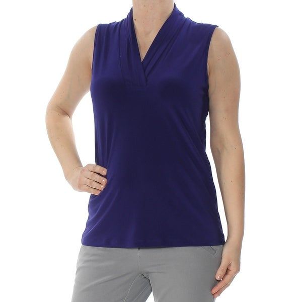 ANNE KLEIN Womens Purple Sleeveless V Neck Top Size: S