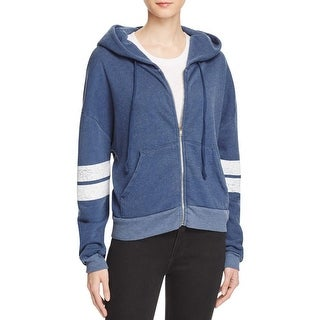 Wildfox Couture Womens Zip-Front Hoodie Striped Heathered