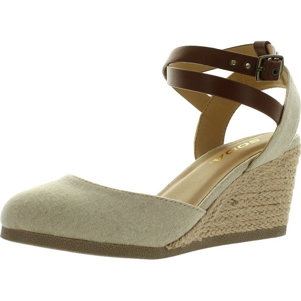 dc00fb41f05 Soda Womens Request Closed Toe Espadrille Wedge Sandal In Natural Tan Linen  - Natural/Tan