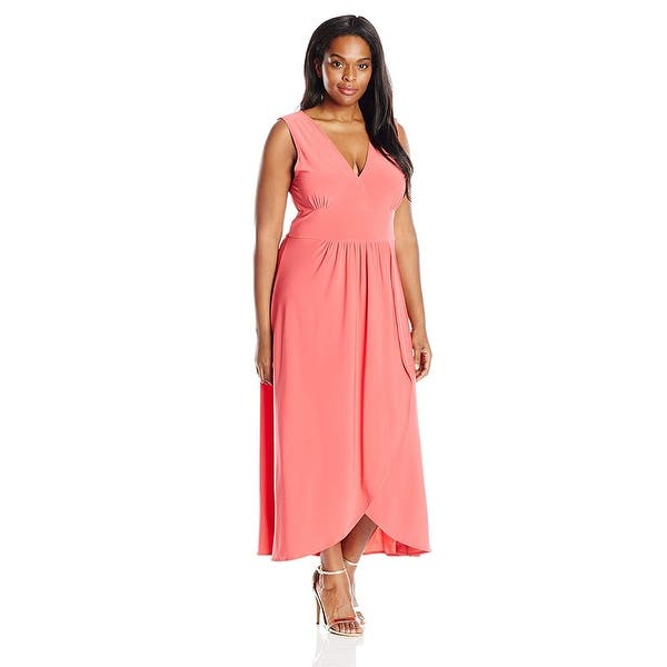Star Vixen Women\'s Plus-Size Sleeveless Surplice Tulip Skirt, Coral, Size  3.0 - 3