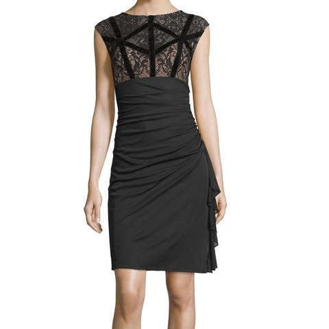 Betsy & Adam Women's Ruched Floral Lace Sheath Dress