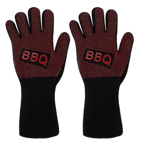 Knitted Elastic Oven Mitts 932F Heat Resistant Gloves 1Pair BBQ Design