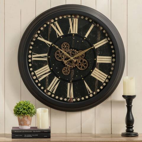 """Glitzhome 27.5""""D Farmhouse Oversized Wall Clock with Moving Gears Tempered Glass"""