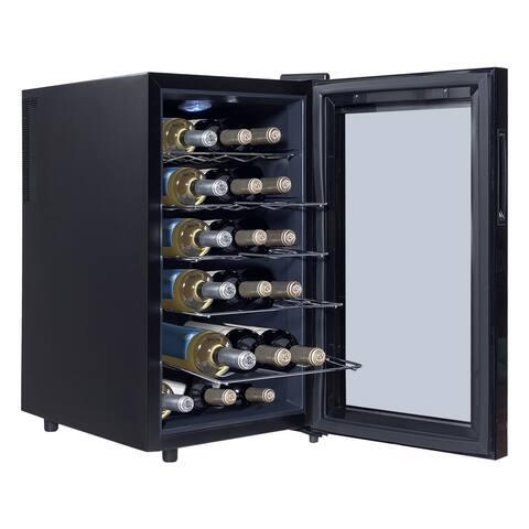 18 Bottle Freestanding Thermoelectric Wine Cooler - Black