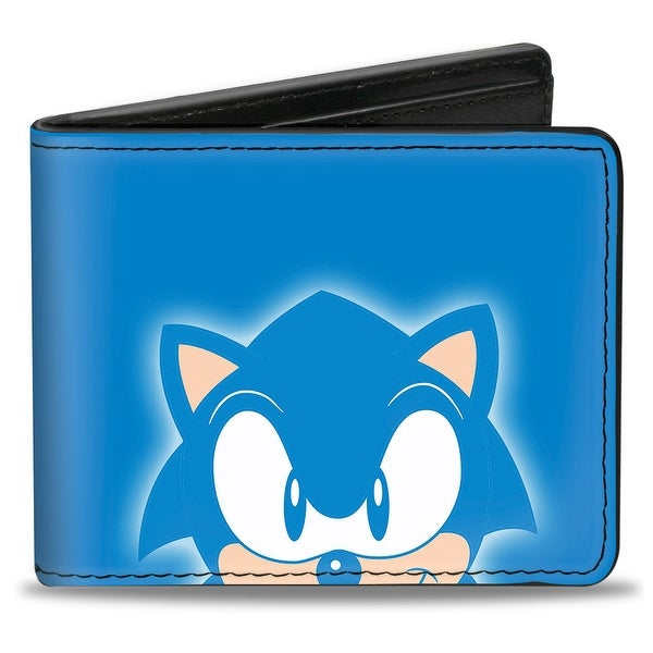 Sonic Classic Sonic Grin Close Up + Back Pose Blues White Bi Fold Wallet - One Size Fits most