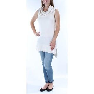 FREE PEOPLE $298 Womens New 1156 Ivory Cowl Neck Sleeveless Hi-Lo Sweater S B+B