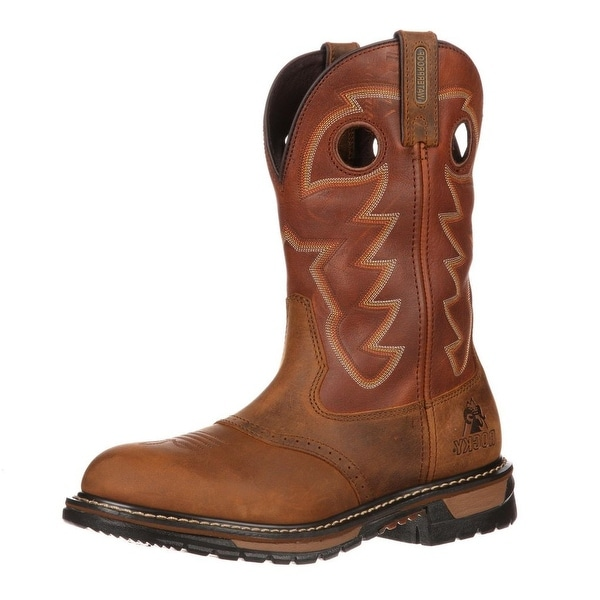 Rocky Western Boots Mens Original Branson Saddle Roper Brown