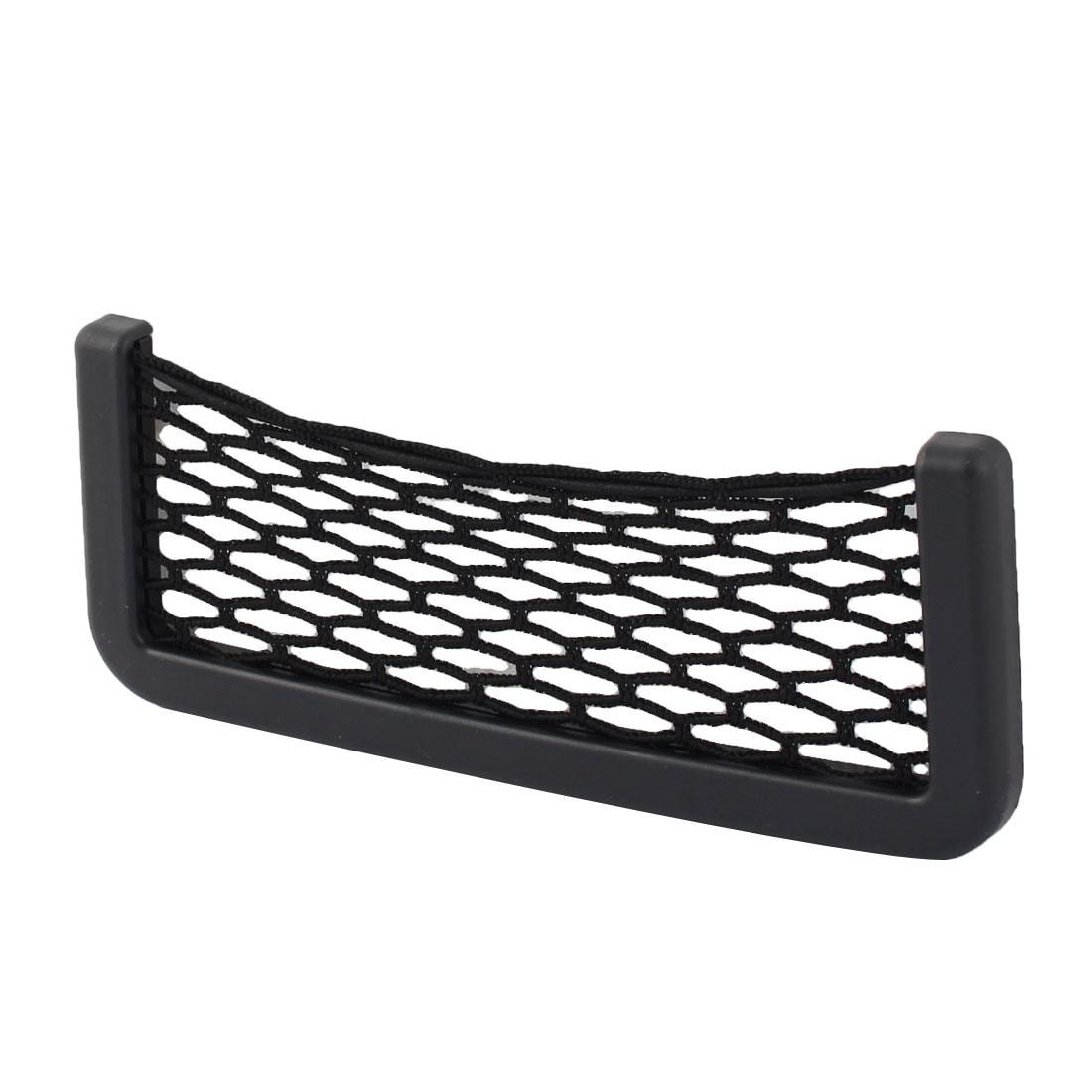Car Vehicle Plastic Frame Nylon Self-adhesive String Storage Bag Container Black