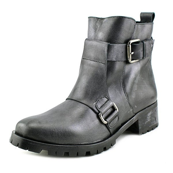Andre Assous Bethany Women Round Toe Leather Motorcycle Boot