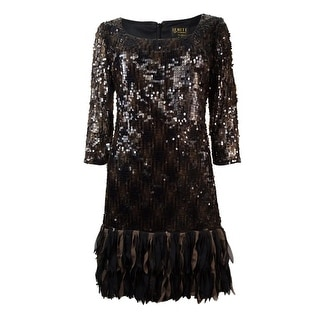 Ignite Evenings Women's Scoop Neck Fringed Sequined Dress - 6