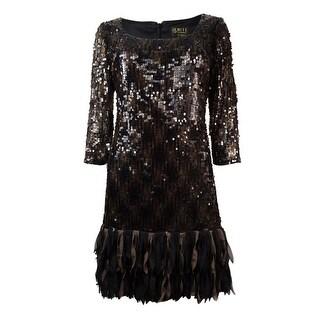 Ignite Evenings Women's Scoop Neck Fringed Sequined Dress - Black/brown - 6