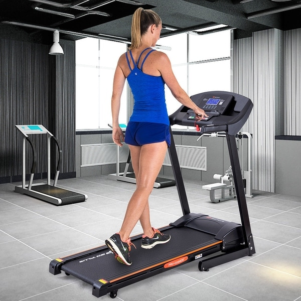 Goplus 2.5HP Folding Treadmill Electric Support Motorized Power Running Fitness Machine - as pic