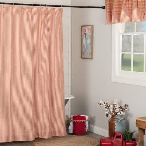 Sawyer Mill Red Ticking Stripe Shower Curtain 72x72