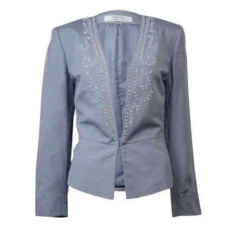Tahari Women's Bead Embellished Long Sleeve Linen Blazer - Grey