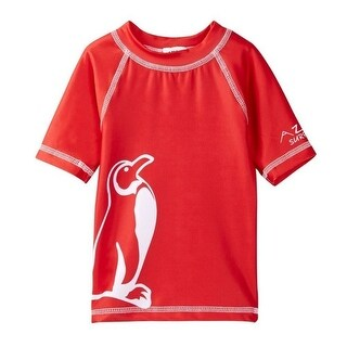 Azul Baby Boys Red White Penguin Print Freeze Drawstring Swim Shorts