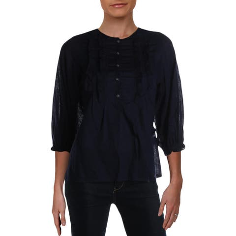 Max Studio Womens Blouse Linen Ruffled - Navy