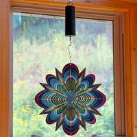 Sunnydaze Blue Dream 3D Wind Spinner with Battery Operated Motor - 12-Inch