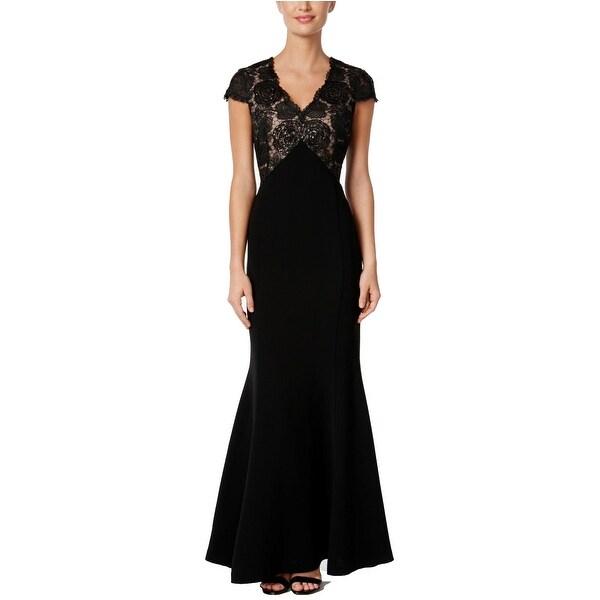 Shop Calvin Klein Cap Sleeve Floral Embellished Empire Waist Crepe