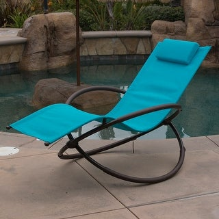belleze orbital foldable zero gravity lounge chair furniture outdoor chaise ocean blue