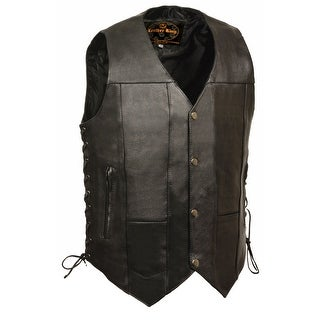 Mens Leather 10 Pocket Side Lace Vest