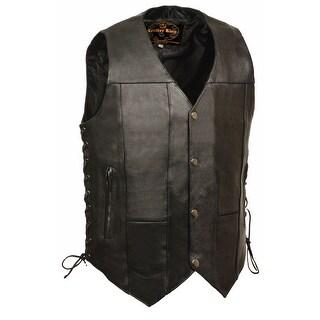 Mens Leather 10 Pocket Side Lace Vest