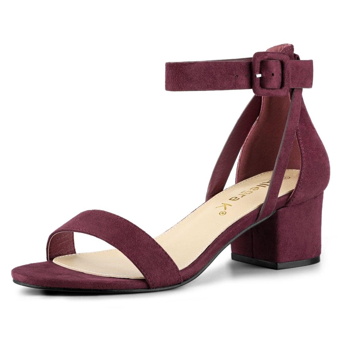 Ankle Strap Block Low Heel Sandals