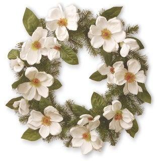 North Valley Spruce Magnolia Artificial Wreath - 24-Inch, Unlit - N/A