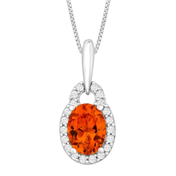 2 7/8 ct Created Padparadscha & White Sapphire Pendant in Sterling Silver