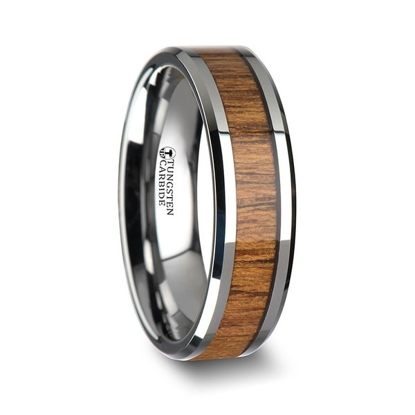 THORSTEN - TEKKU Wood Tungsten Ring with Polished Bevels and Teak Wood Inlay - 6 mm