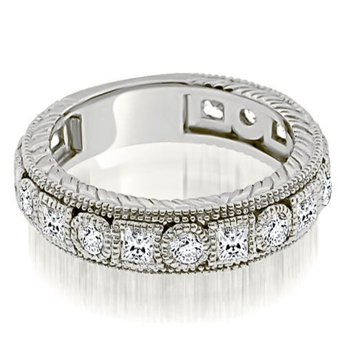 1.50 cttw. 14K White Gold Antique Round And Princess Bezel Diamond Ring