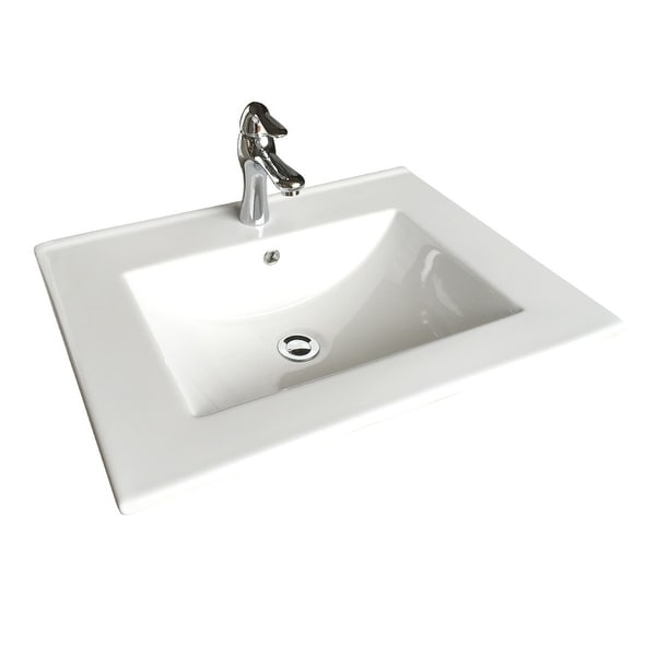 Square White Bathroom Sink with Faucet and Drain, Drop In, Self Rimming