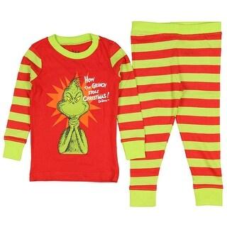 Intimo Boys' Dr Seuss The Grinch Evil Smile Pajama Set