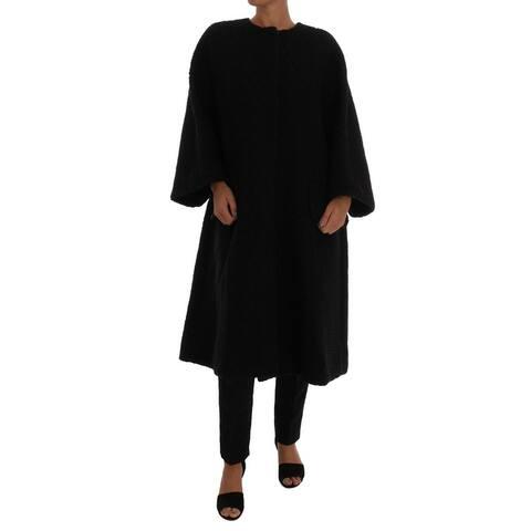 Dolce & Gabbana Black Floral Wool Jacket Women's Coat - it40-s