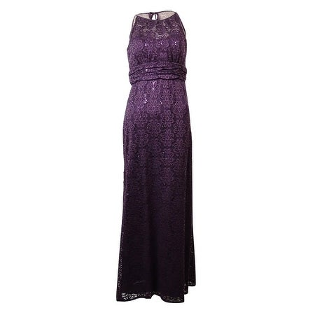 R&M Richards Women's Sleeveless Sequined Lace Halter Gown - Navy - 12P