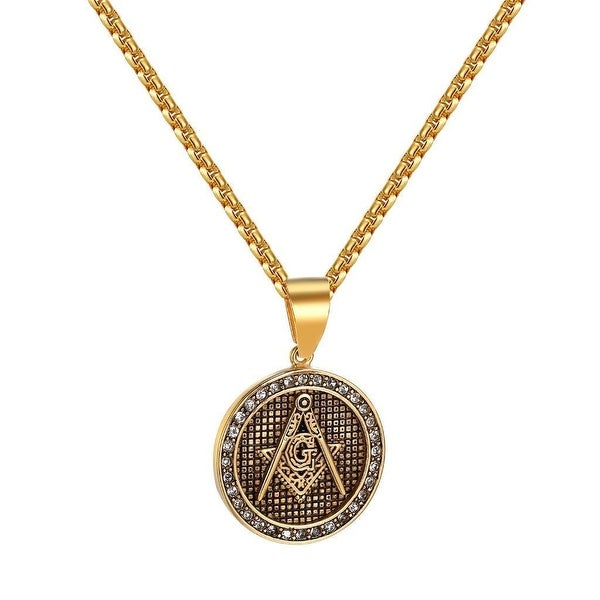 Freemason Masonic G Pendant Gold Tone Stainless Steel Box Necklace Iced Out